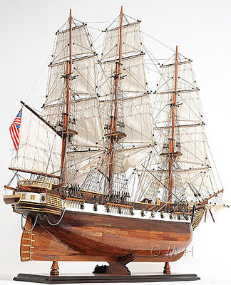 "USS Constellation Frigate Wooden Tall Ship Model 38"" Warship Assembled New"