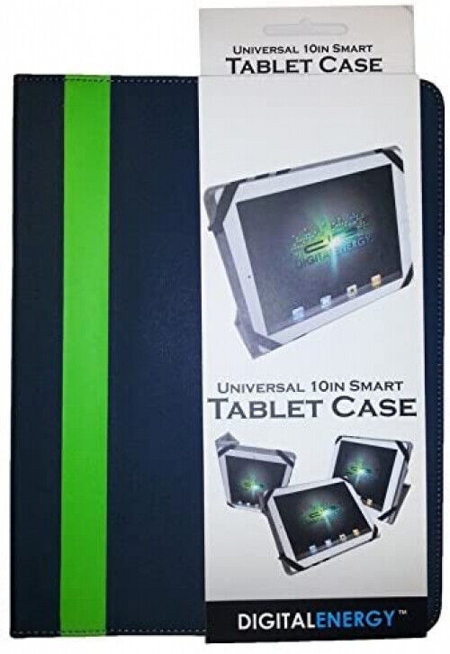 Digital Energy Universal 10  Smart Tablet Case (Grey with Green Stripe)