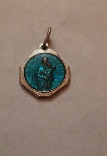 VINTAGE Christian CATHOLIC Blue Enamel Medal For SAINT MARY FROM France  - $12.45
