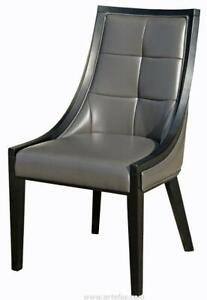 5 - Accent Leather Dining Chair in Grey on SALE