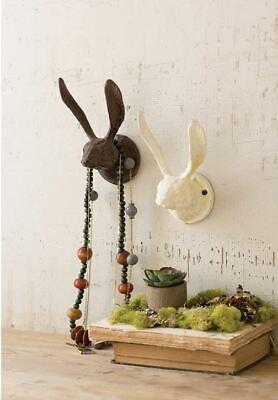 Kalalou Cast Iron Rabbit Wall Hook Rustic Barnyard Farmhouse Large Brown