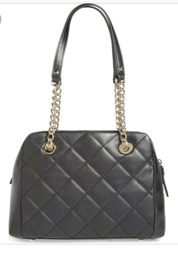 nwt emerson place dewy black quilted leather