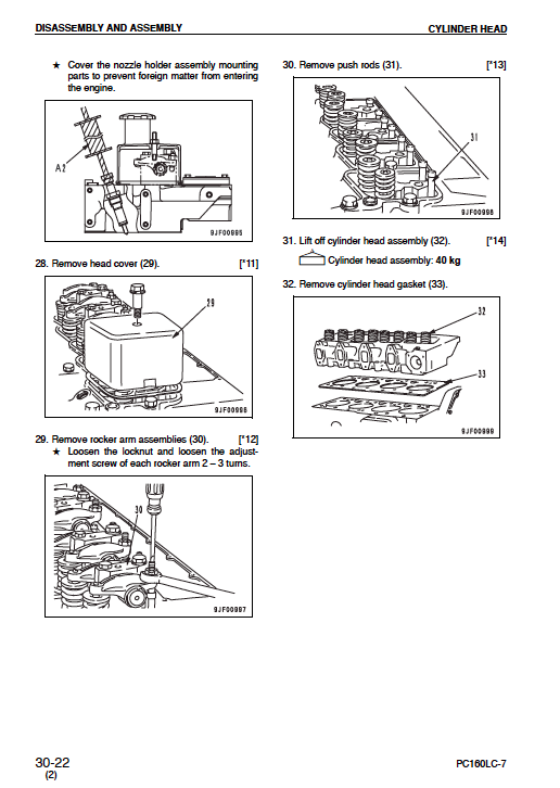 Komatsu Excavator PC200, 2OOLC-7 PC210, 210LC-7 PC220, 220LC-7 Shop Manual
