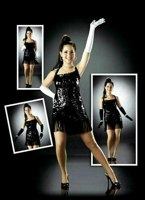 The Frug Dance Costume Black Solid Sequin Flapper Dress Clearance Adult Small](Flapper Dress Dance Costume)