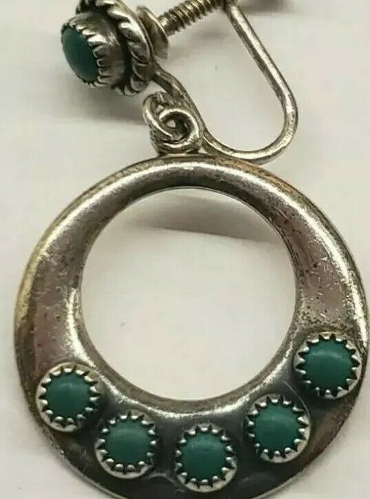 Zuni Earrings Sterling Silver Turquoise Old Pawn Antique Native American 1920