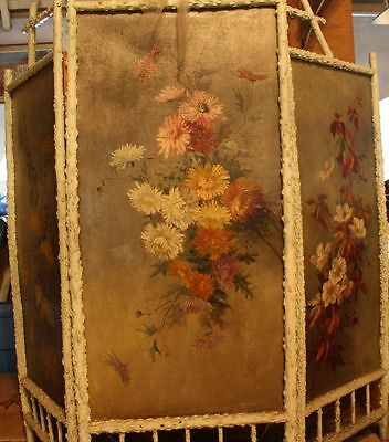 Jugendstil Paravent 1898 signiert 3 Ölgemälde Blumen Motive Raumteiler Gemälde