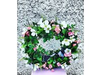 Free-standing woodland style wreath table display