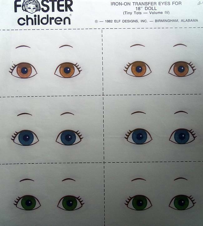 "Foster Children Iron-On Transfer Eyes For 18"" Soft Sculpture Dolls  Six Pair"