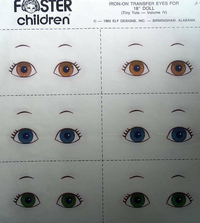 "Foster Children Iron-On Transfer Eyes For 18"" Soft Sculpture Dolls  Six Pair"