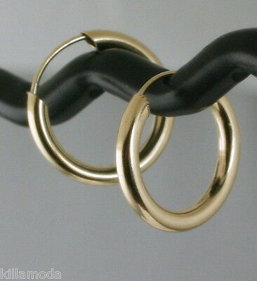 - Classic Solid 14K Yellow Gold Endless Hoop Earrings 15mm =0.59