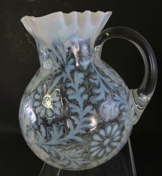 DAISY FERN WHITE PITCHER JUG OPALESCENT GLASS RUFFLE EDGE LARGE
