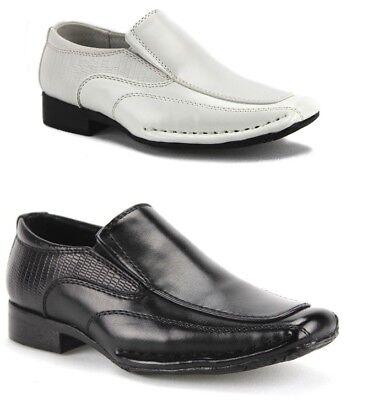 New Little Toddler Boys Classic Slip On Dress Loafers Formal Shoes Black White - Boys White Dress Shoe