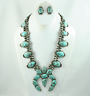 Squash Blossom Necklace Set , Silver and Turquoise