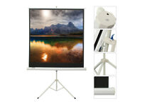 white tripod projector screen brand new never used