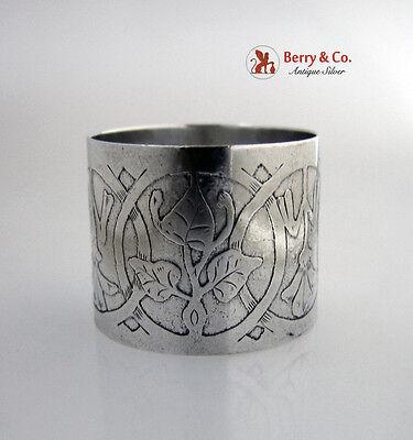 Arts and Crafts Napkin Ring Floral Acid International Sterling Silver 1910