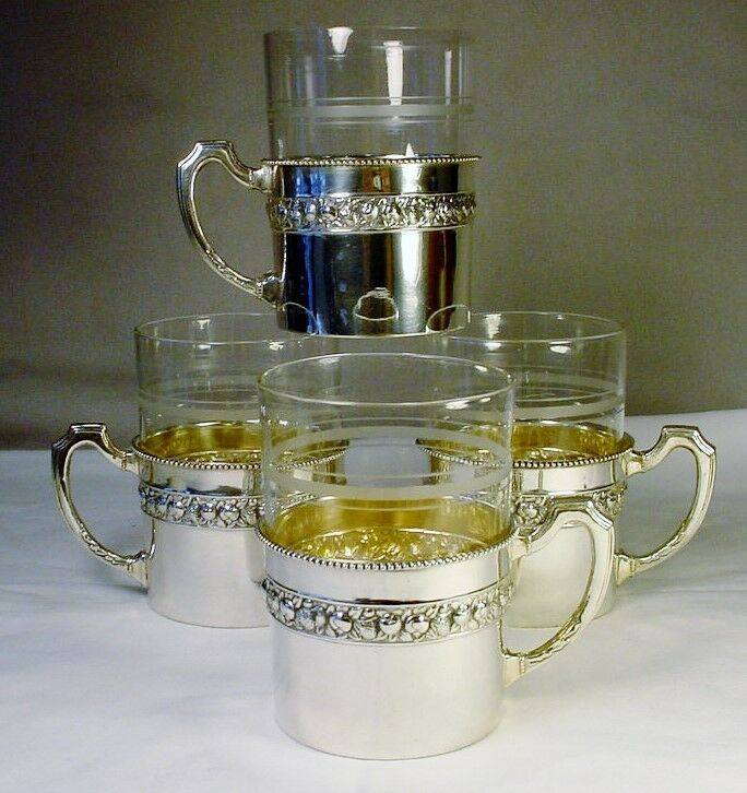 4 Germany Solid Silver 800/1000 Ornate Tea Glass Holders & Glasses Antique