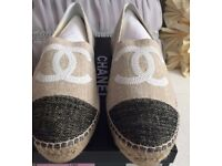 New with box Chanel sequin logo Espadrilles uk 6