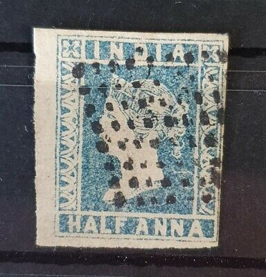 INDIA 1854 Used Imperf 1/2 Anna Greyish Blue Unchecked for Type