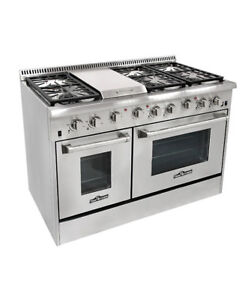 NEW THOR NATURAL GAS PROPANE 48″ STAINLESS STEEL OVEN RANGE PROP