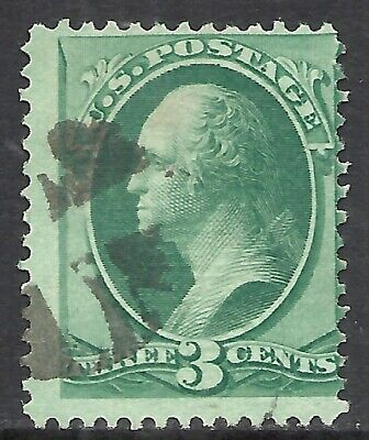 U.S. SCOTT 136 USED FINE - 1870 3c GREEN BANK NOTE ISSUE WITH GRILLE  CAT $32.50