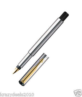 Parker Vector Steel Gold Trim GT Fountain Ink Pen Fine Gold Nib Converter Jotter