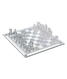 Clear and frosted glass chess set