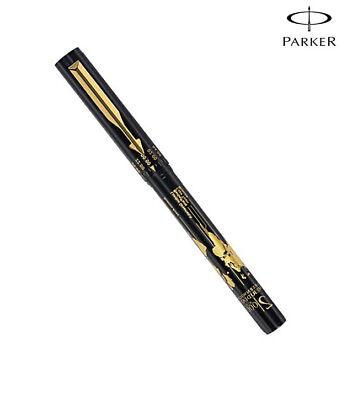 Parker Vector Time Check GT Roller Ball Pen Black Body Blue Ink Gold Trim RB New