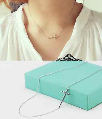 """925 sterling silver sideways cross pendant necklace with 18"""" chain  Gift Box A1"""