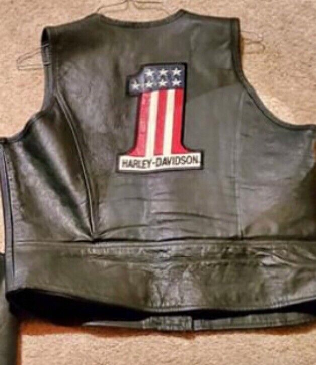 "Vtg Harley Davidson Leather Vest Black w/ leather ""1"" patch Woman's Large USA"