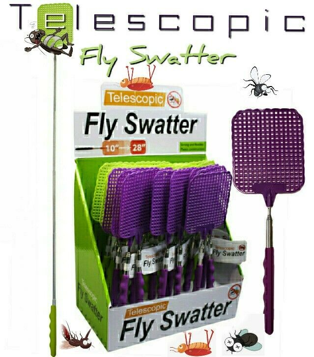 """2-Pack Telescopic Fly Swatter for Bugs, Mosquitos Metal Rod Extendible to 28"""""""