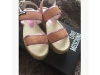 Love Moschino Glitter Love Moschino Espadrille Sandals Pink Women's Size 5