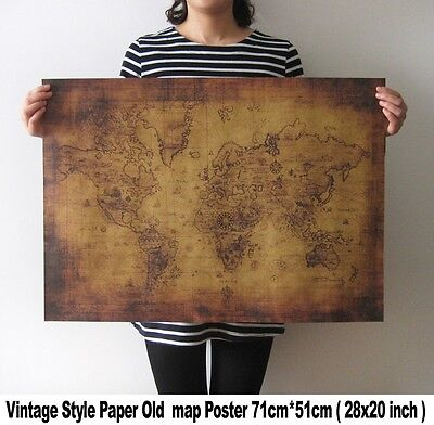 Large Vintage Style Retro Paper Poster Gifts Globe Old World Map 28 x 20 Inch