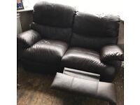 Recliner sofa settee leather