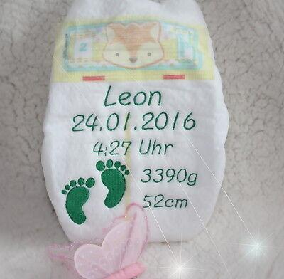 Pampers Windel bestickt bestickte - Babyfüße Geschenk Geburt Taufe Taufgeschenk