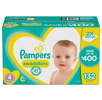 Pampers 80293204 Swaddlers Diapers, 4 -132 ct. (22-37 lb.)