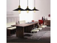Brand New Vintage Black Shade Ceiling Rose Pendant Drop Light Fitting E27 ES Lamp Holder