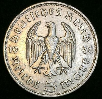 LARGE / BIG Rare Third Reich 5 Reichsmark Genuine SILVER Coin with BIG Eagle