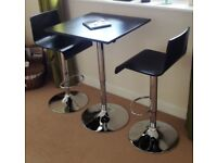 Table & Two Bar Stools (Black / Chrome)