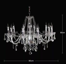 16 x Crystal chandeliers, 10 arms, glass (not plastic)