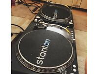 2x stanton st-150s with 2 banana tonar stylus and cartridges
