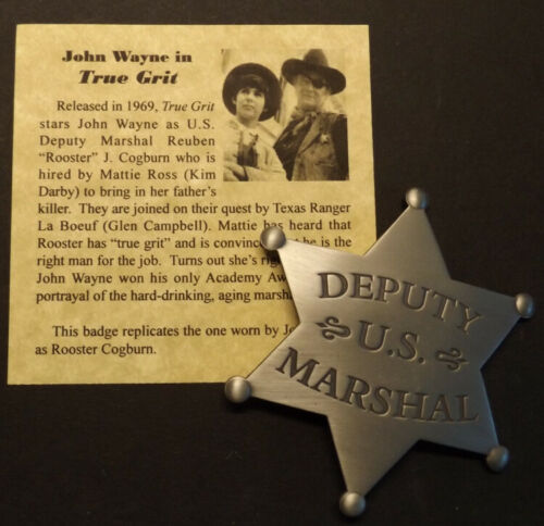 Deputy US Marshal Badge, silver, old west, John Wayne, True Grit, western