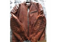 Men's Tan Leather Jacket XL (fits large)