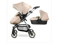 Silver Cross Wayfarer Travel System (Pushchair, Carrycot and Car Seat) -Sand