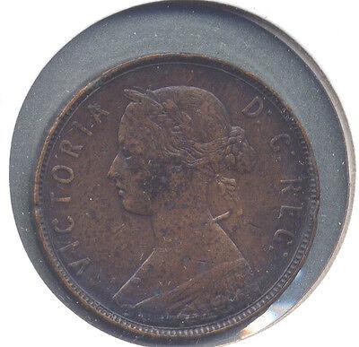 "1880 Newfoundland Cent, Oval or Narrow ""0"" Key Variety - F to VF Detail"
