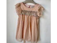 Next Peach & Gold Baby Girl Dress