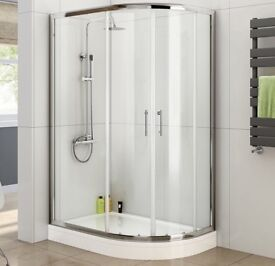 900 x 760 Right Quadrant 6mm Sliding Glass Shower Enclosure with Plinth Tray + Free Waste