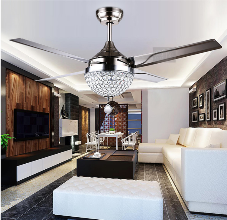 Modern Crystal Ceiling Fan Lamp LED 3 Changing Stainless Ste