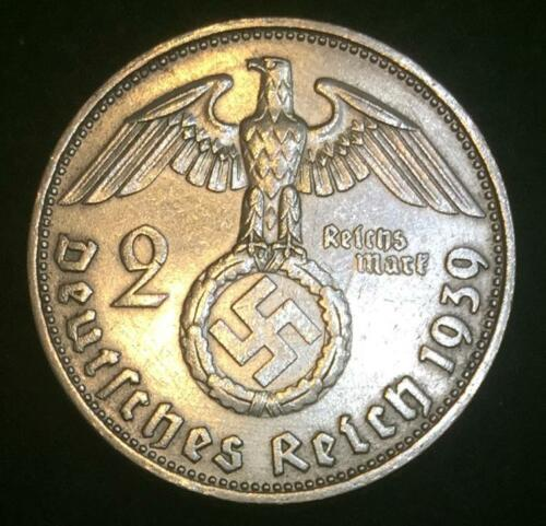 Rare WW2 German 2 Reichsmark SILVER Coin Historical WW2 Authentic Artifact