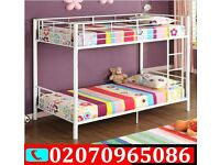 BRAND NEW SINGLE METAL BUNK BED IN WHITE AND SILVER. CAN BE USED AS TWO BEDS