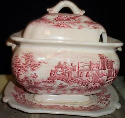 Vintage Pink Ironstone Covered Soup Tureen Underplate Victorian Landscape 3 Pc